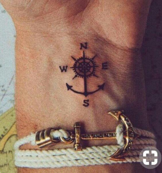 mariner's wheel tattoo with directions and anchor design on wrist