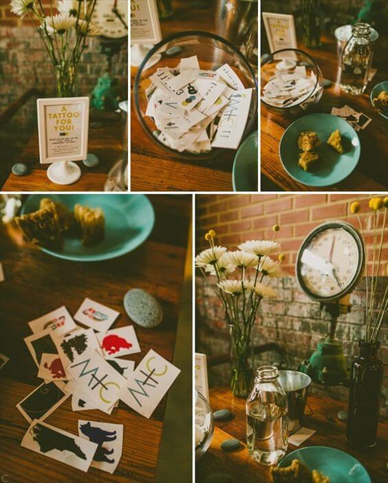 a collage of wedding temporary tattoos, flowers and tattoo signage set on a table