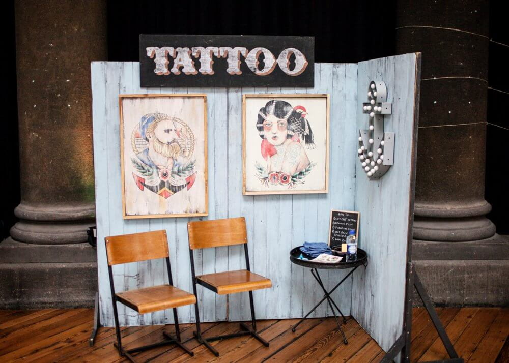 fake tattoo parlour with arty decor