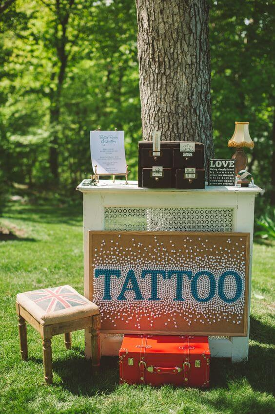 elegant wedding temporary tattoo station