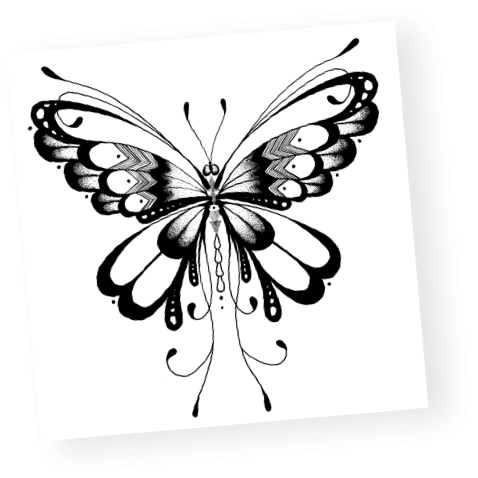 custom black and white intricate butterfly design