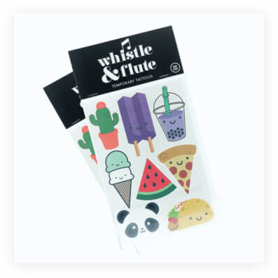canadian brand whistle and flute's promotional tattoo stickers