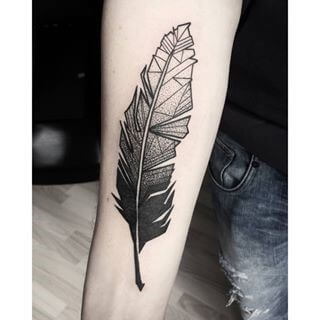 geometric feather temporary tattoo on arm