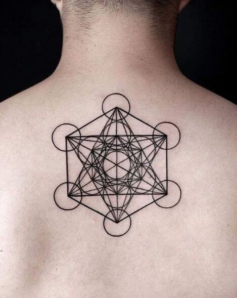 metatron cube tattoo on back