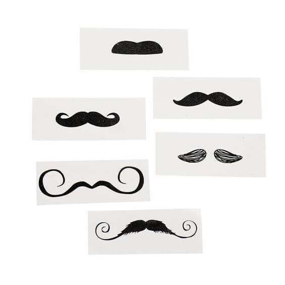 temporary tattoos of moustaches in various styles