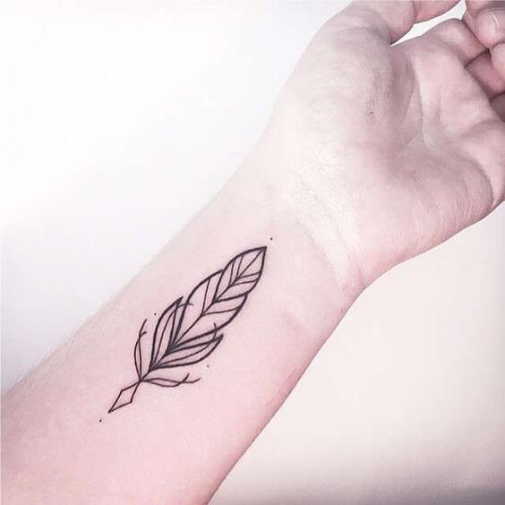 minimalist clean lines feather temporary tattoo on wrist