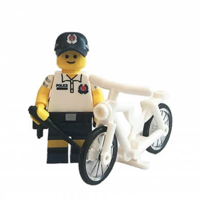 SPF Community Policing Unit Mini-figure in white Police polo shirts and dark blue bermuda shorts uniform with white bicycle.