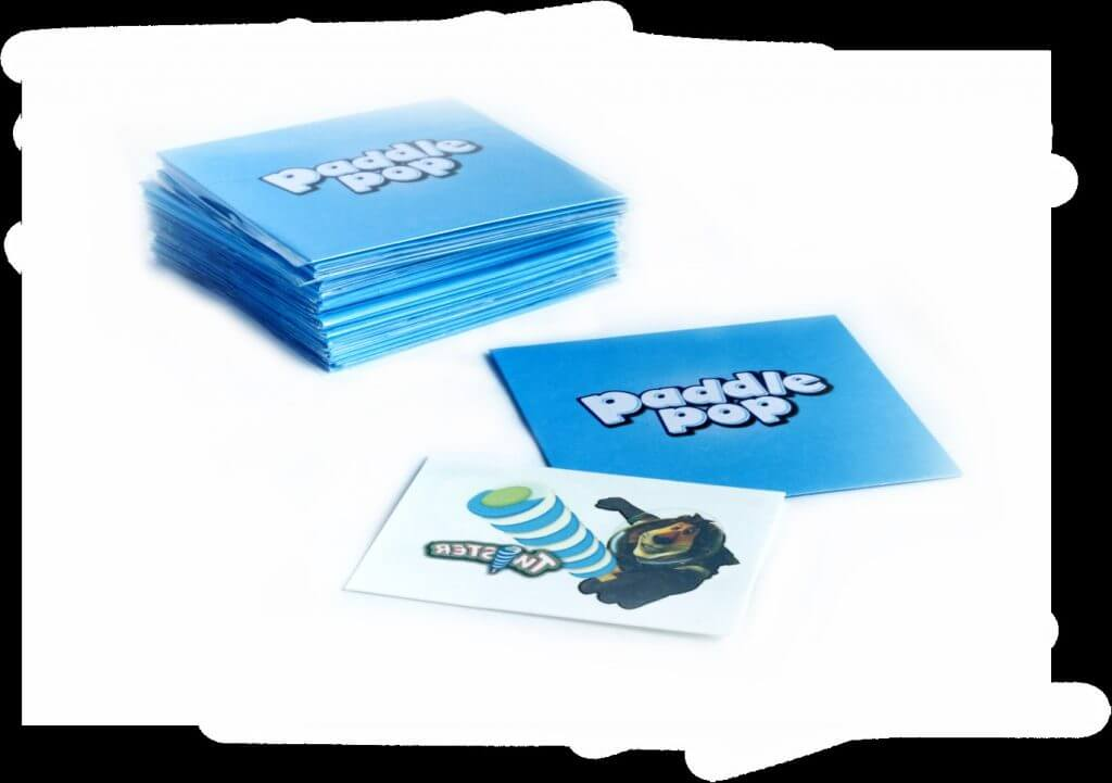 Blue Paddle Pop Envelope stacks with Paddle Pop promotional temporary tattoos