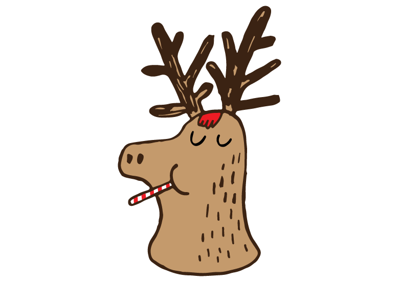 Christmas deer with lollipop in mouth temporary tattoo design