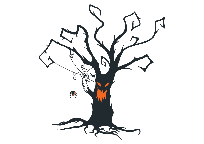 spooky tree halloween tattoo sticker design