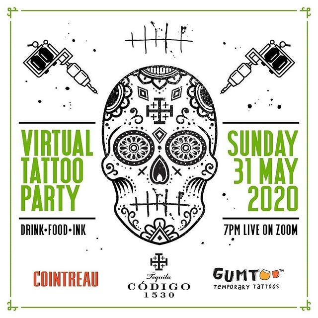 Virtual Tattoo Party Poster at the tippling club